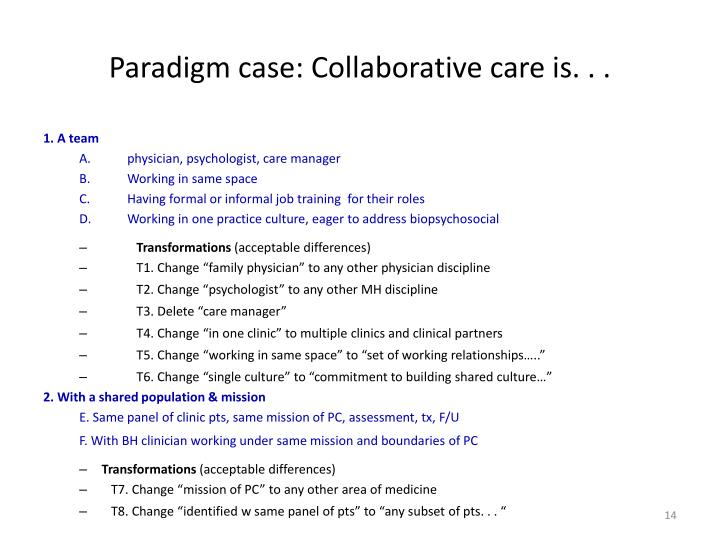 Paradigm case: Collaborative care is. . .