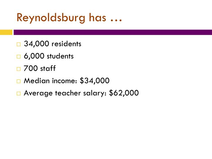 Reynoldsburg has …