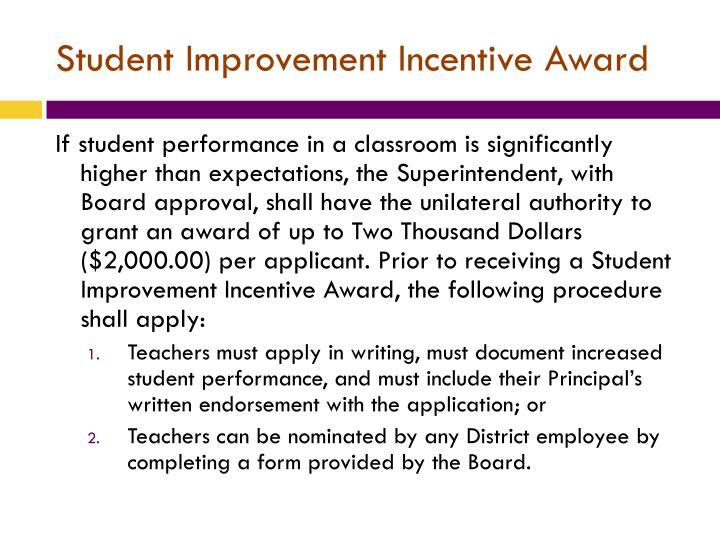 Student Improvement Incentive Award