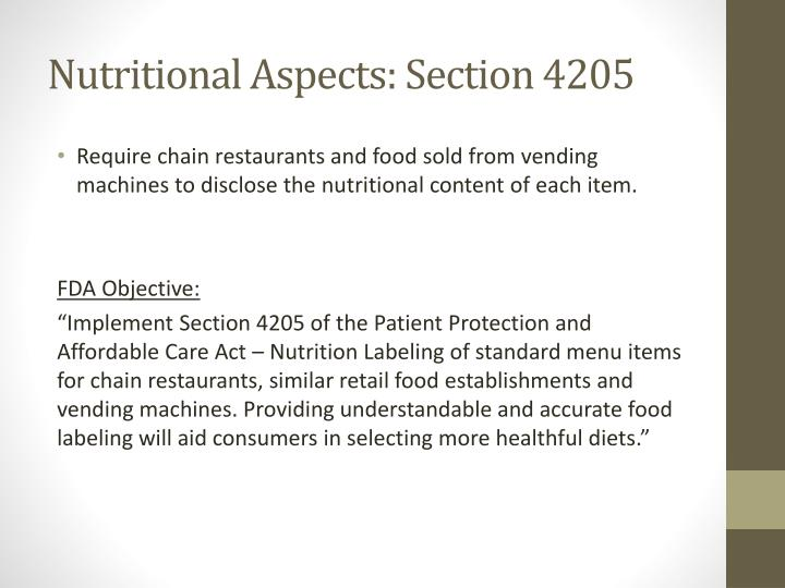 Nutritional Aspects: Section 4205