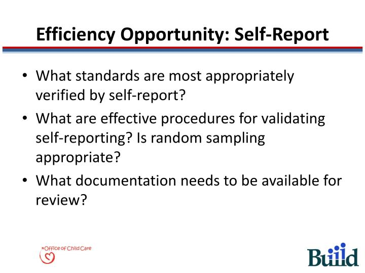Efficiency Opportunity: Self-Report