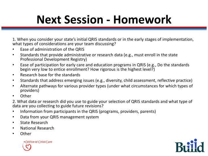 Next Session - Homework