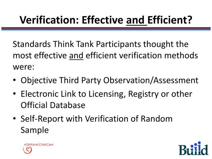 Verification: Effective