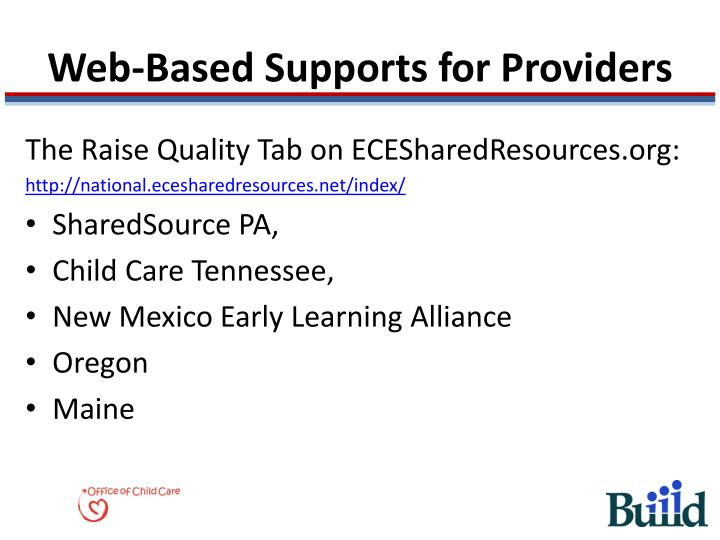 Web-Based Supports for Providers