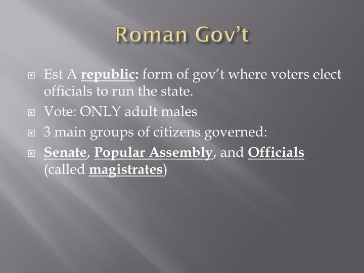 Roman Gov't