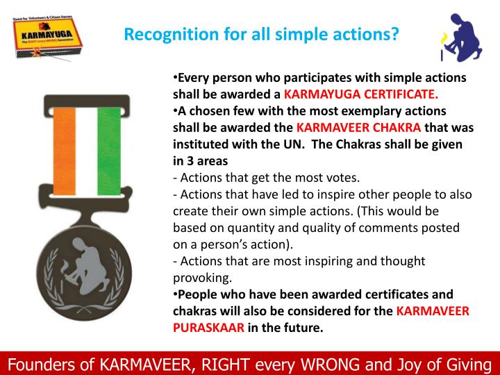 Recognition for all simple actions?