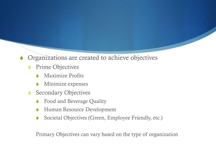 Organizations are created to achieve objectives