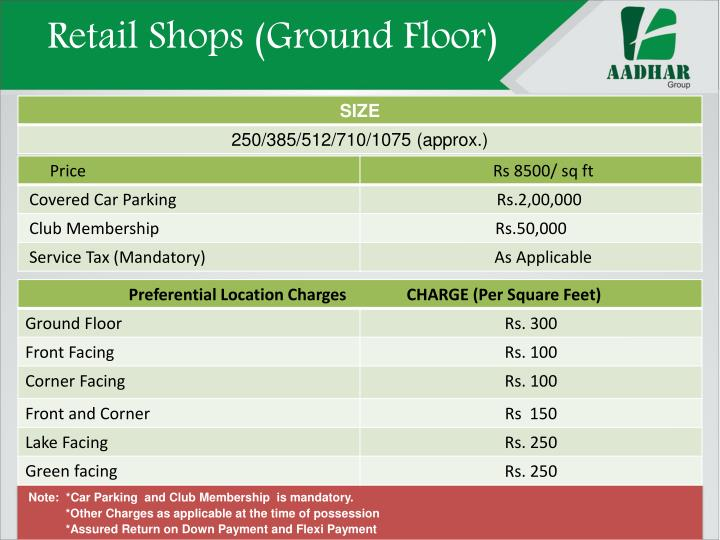 Retail Shops (Ground Floor)