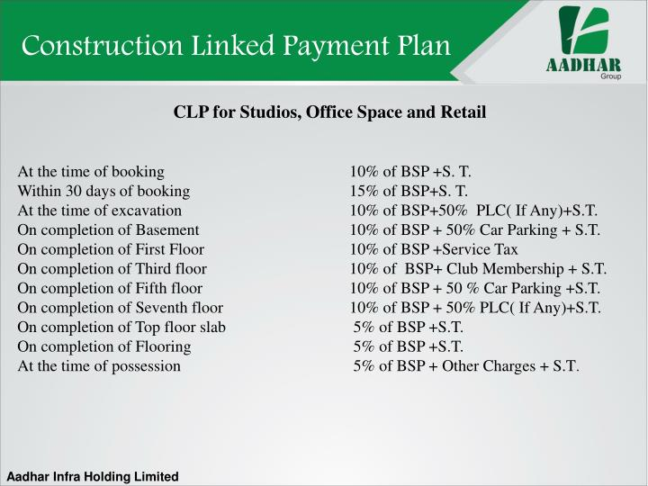 Construction Linked Payment Plan