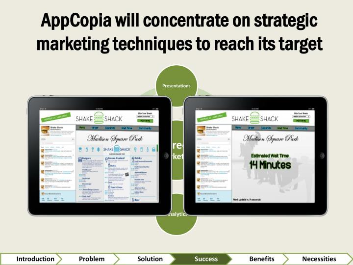 AppCopia will concentrate on strategic marketing techniques to reach its target
