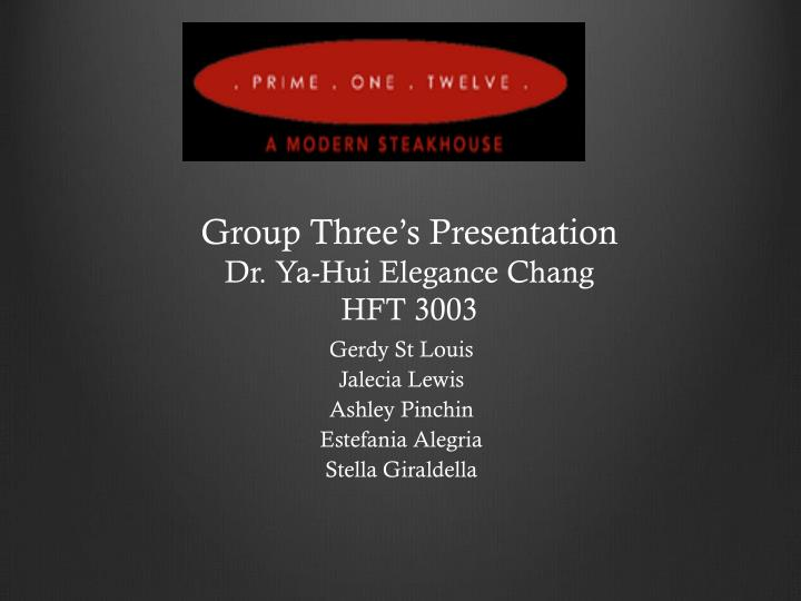 Group three s presentation dr ya hui elegance chang hft 3003