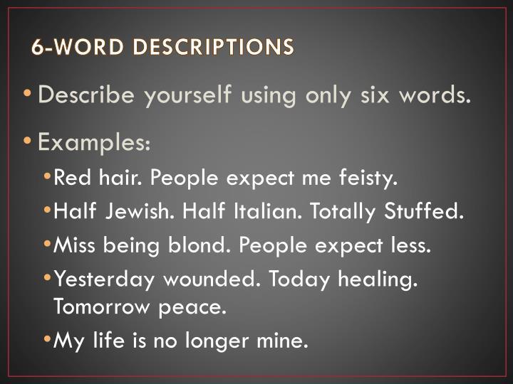 6-WORD DESCRIPTIONS