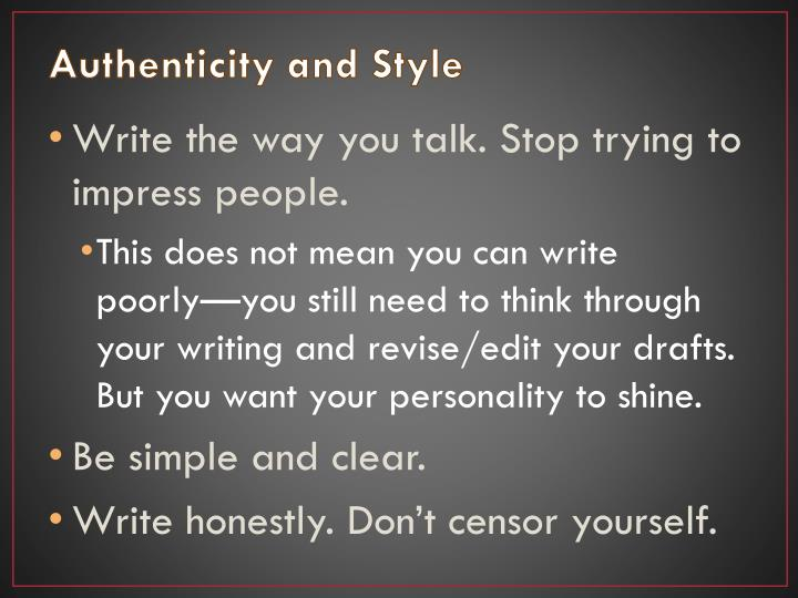 Authenticity and Style