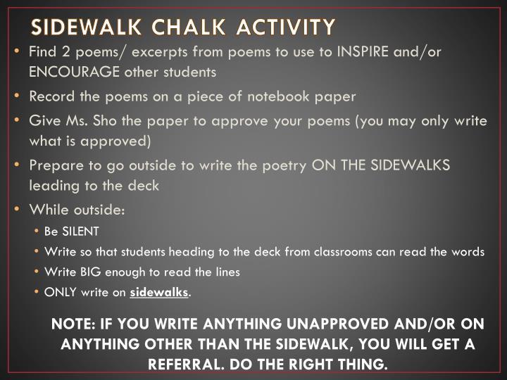 SIDEWALK CHALK ACTIVITY