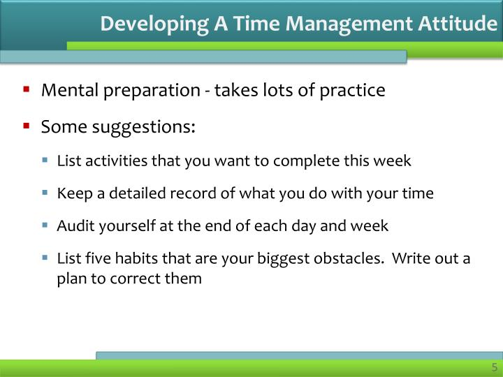 Developing A Time Management Attitude