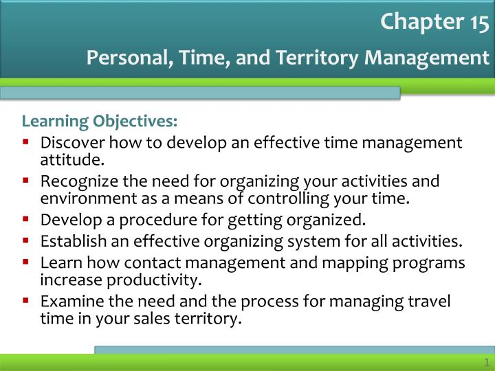 Personal, Time, and Territory Management