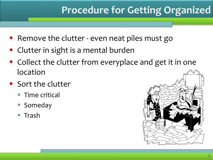 Procedure for Getting Organized
