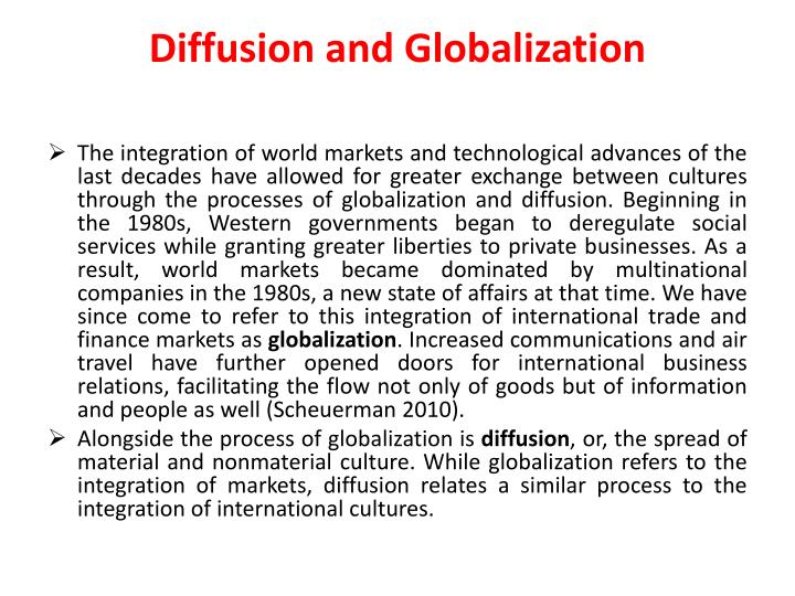 Diffusion and Globalization