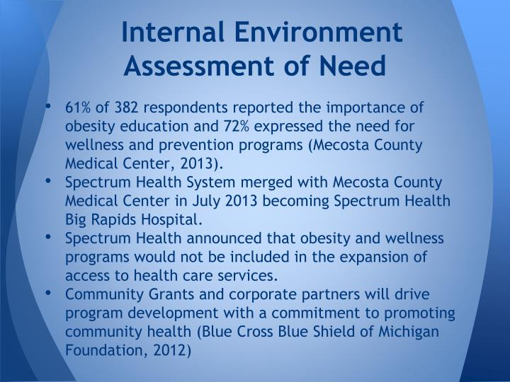 Internal environment assessment of need