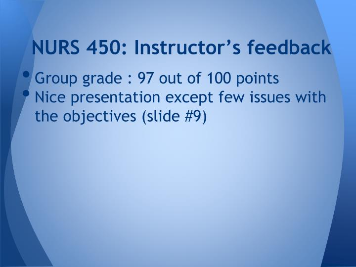 NURS 450: Instructor's feedback