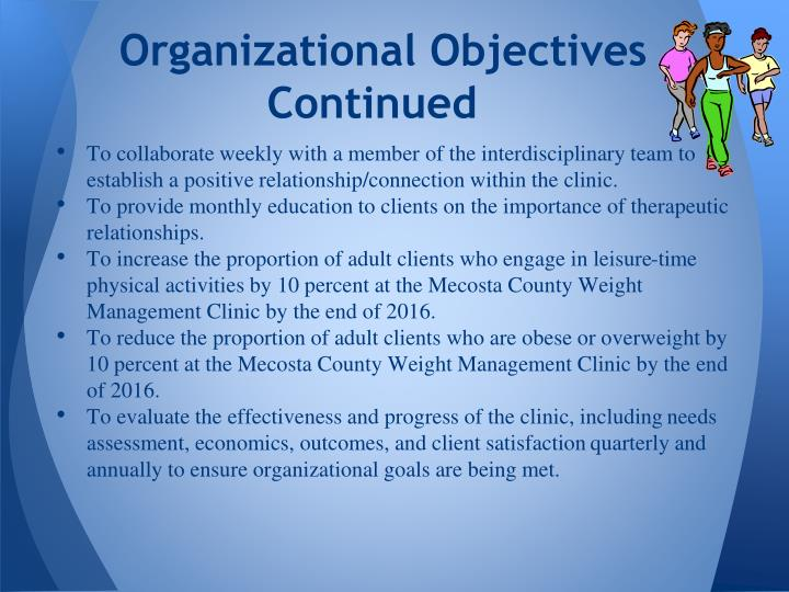 Organizational Objectives Continued