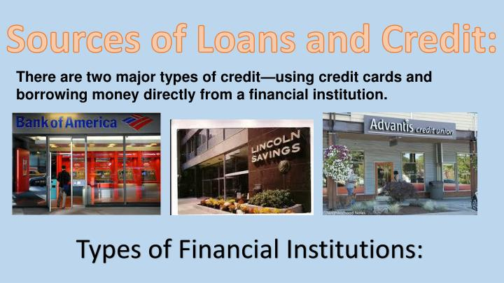 Sources of Loans and Credit:
