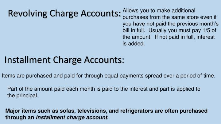 Revolving Charge Accounts: