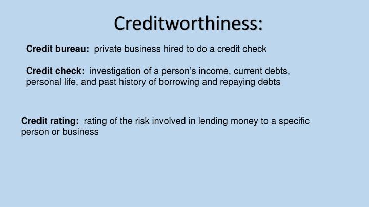 Creditworthiness: