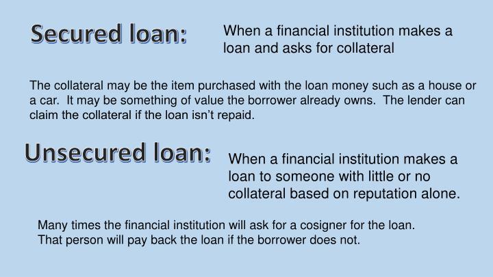 Secured loan: