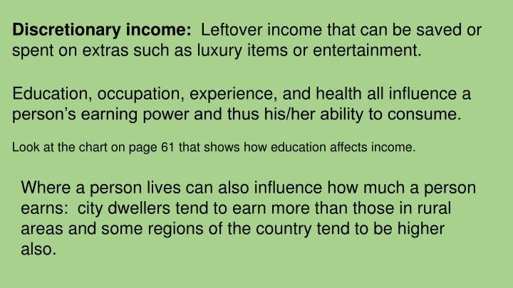 Discretionary income: