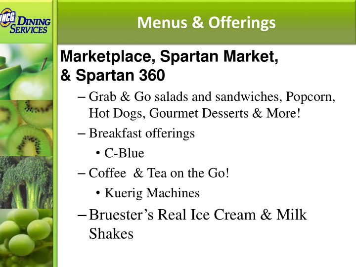 Menus & Offerings