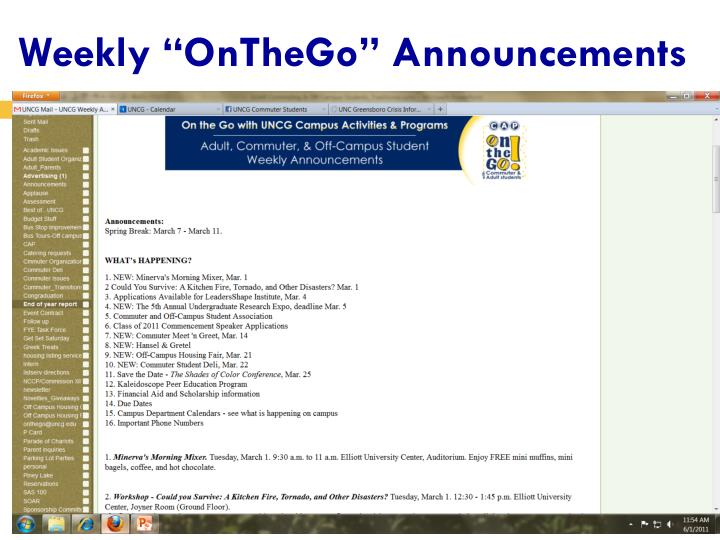 """Weekly """"OnTheGo"""" Announcements"""