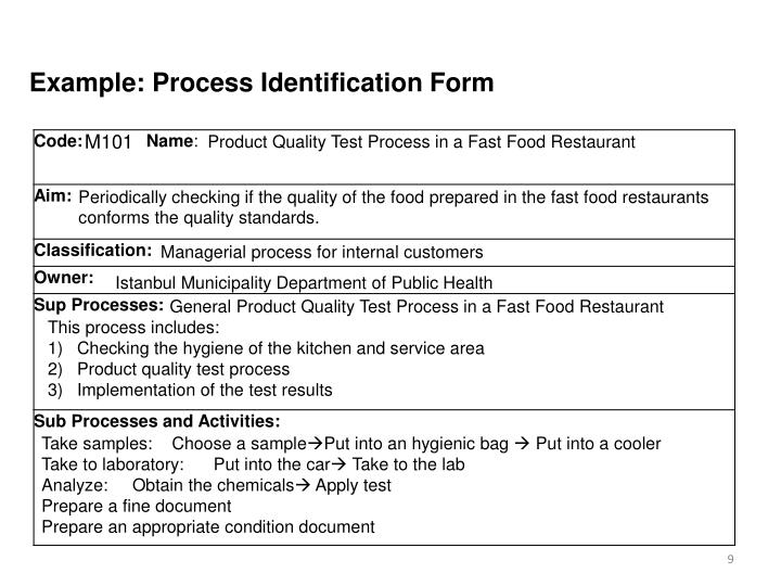 Example: Process Identification Form