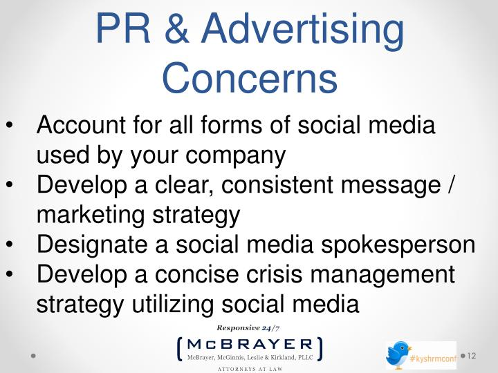 PR & Advertising Concerns
