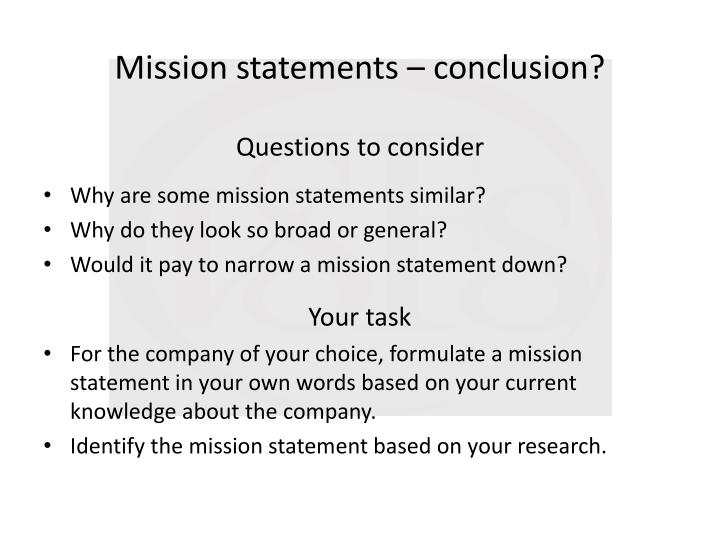 Mission statements – conclusion?