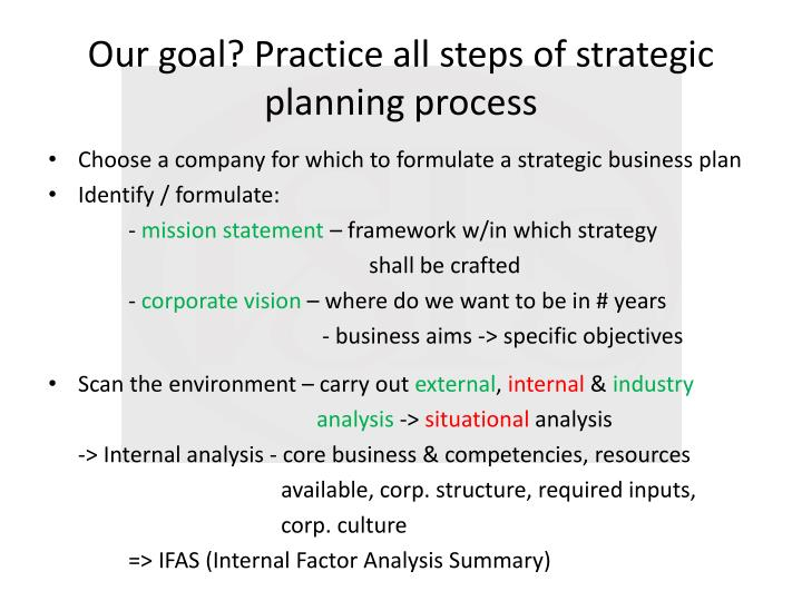 Our goal practice all steps of strategic planning process
