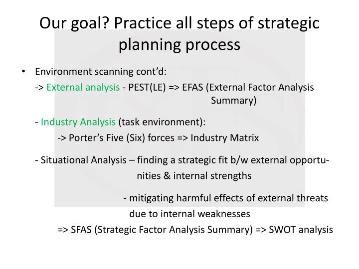 Our goal? Practice all steps of strategic planning process