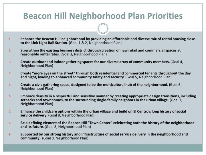 Beacon Hill Neighborhood Plan Priorities