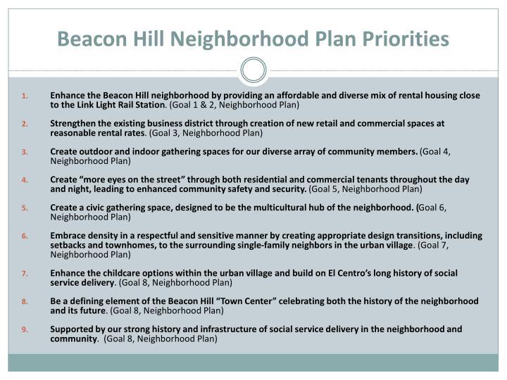 Beacon Hill Neighborhood Plan Priorities