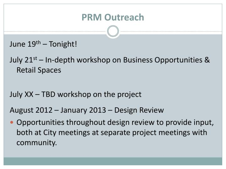 PRM Outreach