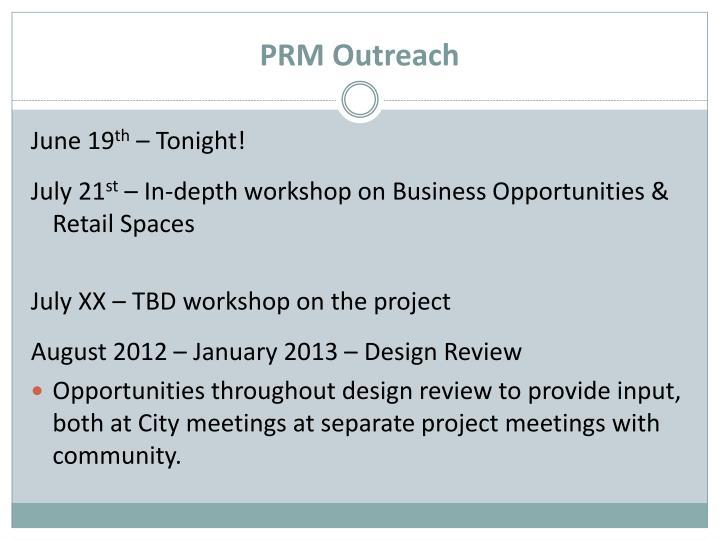 PRM Outreach