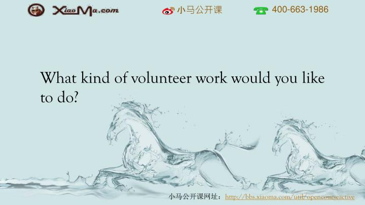 What kind of volunteer work would you like to do?