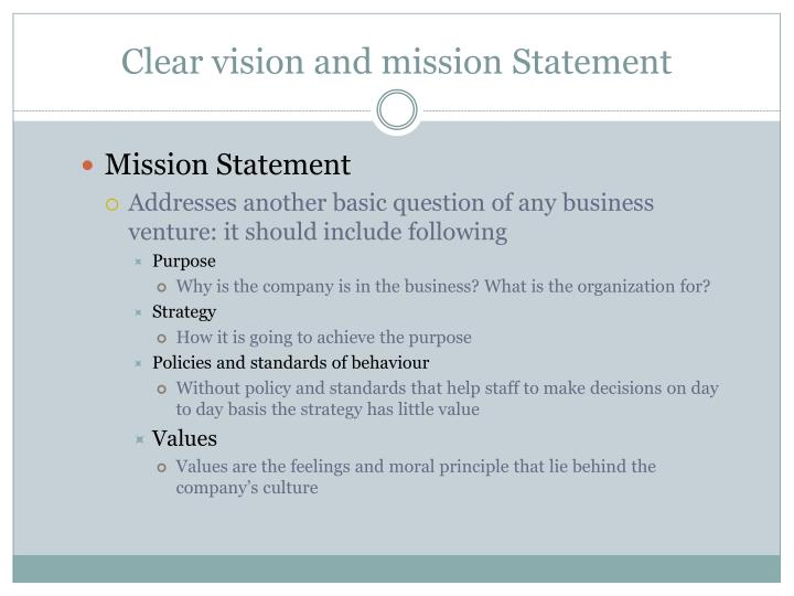 Clear vision and mission Statement