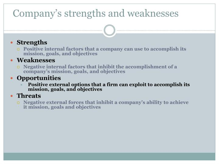 Company's strengths and weaknesses