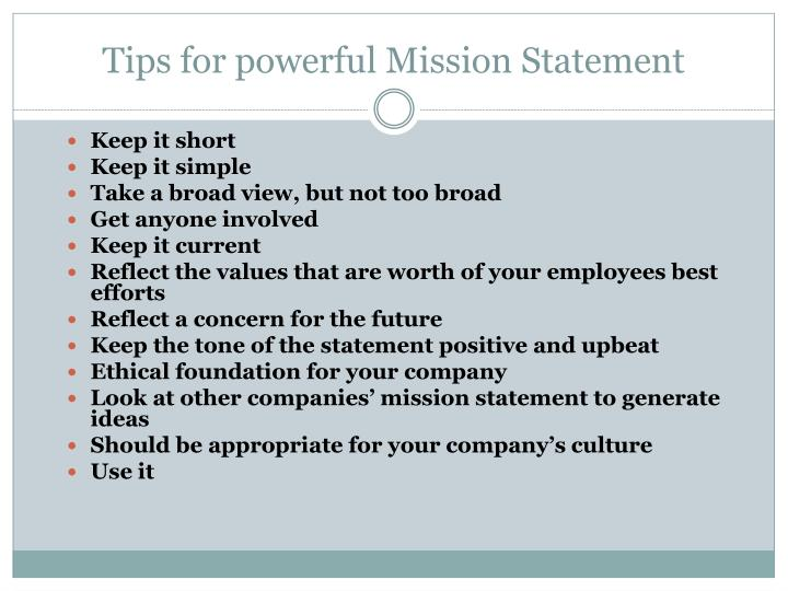 Tips for powerful Mission Statement
