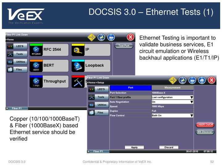 DOCSIS 3.0 – Ethernet Tests (1)