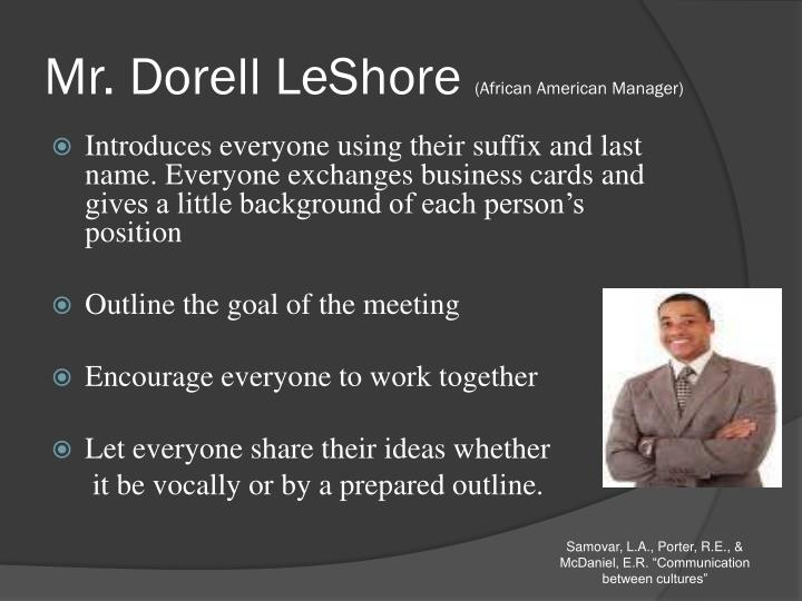 Mr dorell leshore african american manager