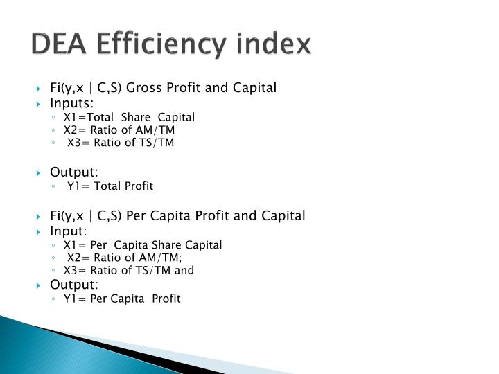 DEA Efficiency index