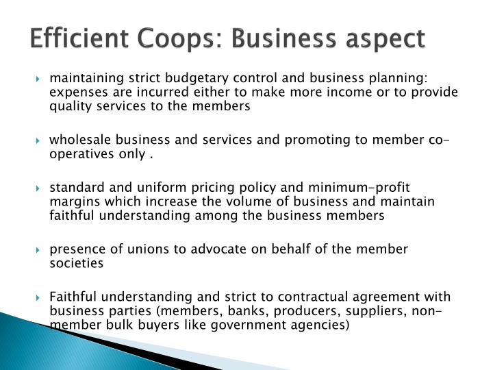 Efficient Coops: Business aspect