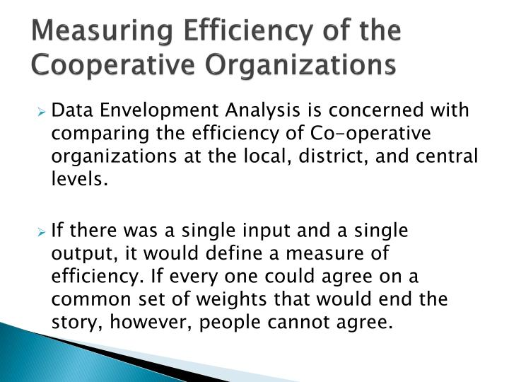 Measuring Efficiency of the Cooperative Organizations